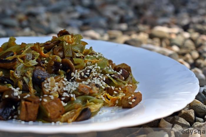 Zielony makaron z bio tofu