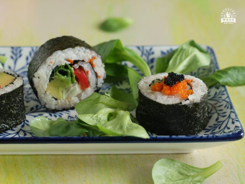 Sushi wegańskie z kawiorem