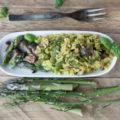 ryż ze szparagami i grzybami shimeji